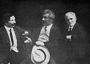 I. L. Peretz - Left to right, Sholem Aleichem, Peretz, and Yacov Dinezon