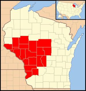 Roman Catholic Diocese of La Crosse - Image: Diocese of La Crosse (Wisconsin) map 1