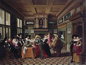 Dirck van Delen - Interior with Ladies and Cavalier, 1629