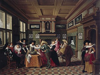 Dirck van Delen - Interior with Ladies and Cavalier, 1629