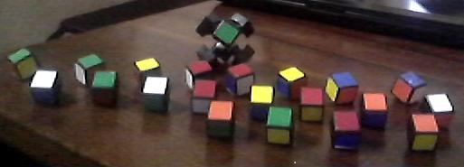 Disassembled Rubik's Cube on table, 16 June 2013