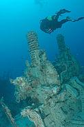 Diver near an old gun mount, Spiegel Grove wreck, Key Largo, Florida
