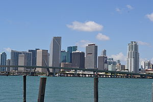 Greater Downtown Miami - Downtown Miami skyline as seen from Biscayne Bay to the east