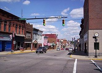Shelby, Ohio - West Main Street in downtown Shelby looking east at the intersection of Gamble Street.