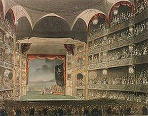 Judith (oratorio) - Drury Lane Theatre. 19th-century artwork of the Henry Holland rebuilding of the Drury Lane Theatre, Covent Garden, London, UK. This building, the third and largest theatre on this site, burned down in February 1809.