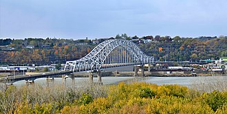 U.S. Route 20 - US 20 crosses the Mississippi River connecting Dubuque, Iowa, and East Dubuque, Illinois