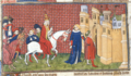 Duke of Anjou leading Pope Gregory XI to the palace at Avignon, while cardinals follow.png