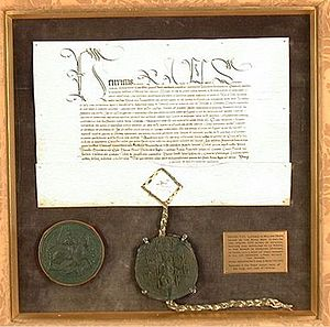 William Denys - Royal licence to empark Dyrham granted by King Henry VIII to William Denys, Esquire of the Body, 5 June 1511. Affixed thereto is a rare perfect example of the Great Seal of Henry VIII. Collection of Dyrham Park, National Trust