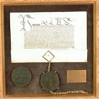 Deer park (England) - Royal licence to empark Dyrham granted by King Henry VIII to Sir William Denys (1470–1533), Esquire of the Body, 5 June 1511. Appended is a rare perfect example of the Great Seal of Henry VIII. Collection of Dyrham Park, National Trust