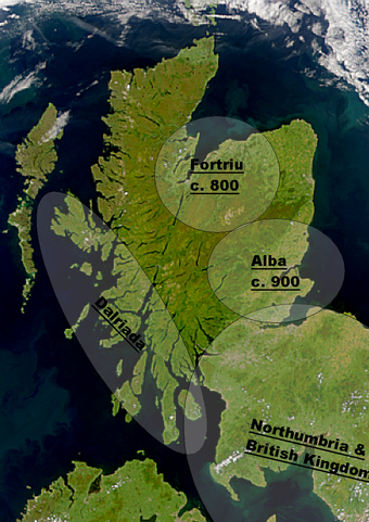 Major political centres in early Medieval Scotland Early Medieval Scotland areas.png