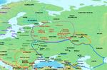 Map showing Varangian or Rus' settlement (in red) and location of Slavic tribes (in grey), during the mid-ninth century. Khazar influence indicated with blue outline.