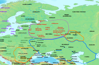 Garðaríki - Map showing Varangian or Rus' settlement (in red) and location of Slavic tribes (in grey), mid-9th century Khazar influence indicated with blue outline