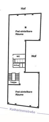 Skizze Des Ursprünglichen Grundrisses Des Vorderhauses Vor Einzug Der  Zwischenwände (2. Stock)