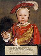 Prins Edvard som baby i praktfull klädsel, målad av Hans Holbein d.y..[7]