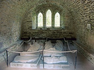 Walter Bailloch - View of the Chapter House of Inchmahome Priory; effigies on the right represent the Countess Mary and Walter, Earl of Menteith.
