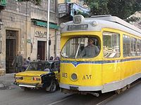 Former Copenhagen articulated car in service on Alexandria's urban tramway