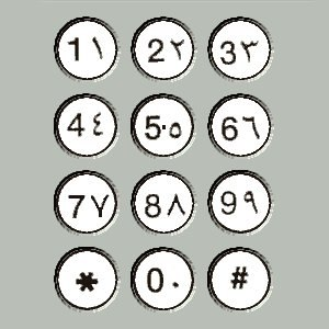 Arabic numerals - Modern-day Arab telephone keypad with two forms of Arabic numerals: Western Arabic/European numerals on the left and Eastern Arabic numerals on the right