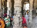 Ekambareswarar Temple Kanchipuram Tamil Nadu - pilgrims resting in the pillared mandapam.jpg
