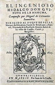Cervantes' Don Quixote (1605), original title page