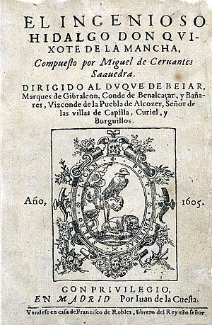 1605 in literature - Don Quixote 1st ed. title page