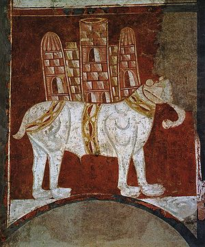 Howdah - 12th century Spanish painting of a war elephant.