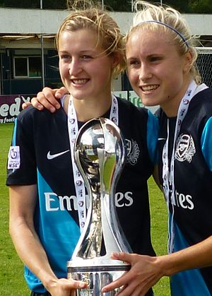 FA Women's Super League - Arsenal's Ellen White (L) and Steph Houghton (R) with the WSL trophy