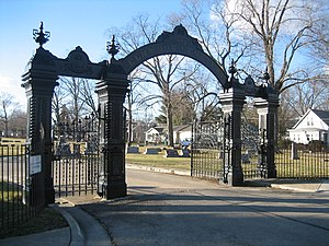 Elmwood Cemetery Gates - The historic gates to the Elmwood Cemetery in Sycamore, Illinois.