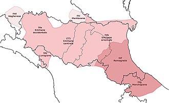 Romagnol dialect - Image: Emiliano Romagnolo area