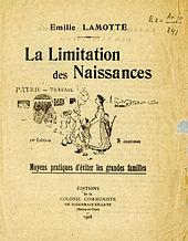 Émilie Lamotte,La limitación de los nacimientos, 1908, Ediciones de la colonia comunista de Saint-Germain-en-Laye.