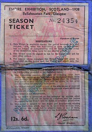 Empire Exhibition, Scotland - A season ticket pass