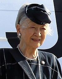 Empress Michiko at the Manila International Airport 012616 (cropped).jpg