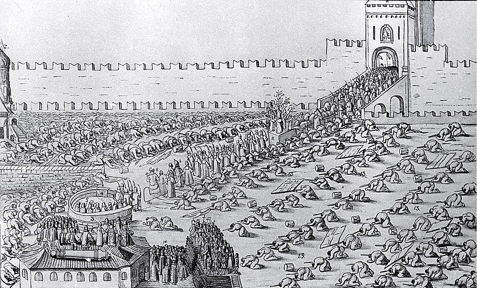 Engraving of Red Square & Kremlin (Moscow, 1654)