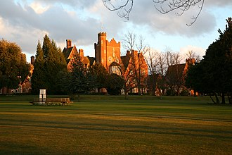 Epsom College - The Tower and main entrance as seen from across Main Lawn