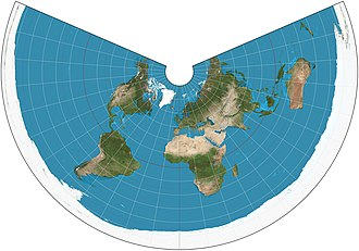 Equidistant conic projection - The world on an equidistant conic projection. 15° graticule, standard parallels of 20°N and 60°N.