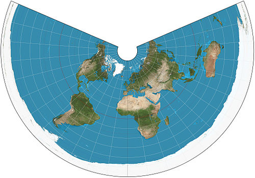 The world on an equidistant conic projection. 15deg graticule, standard parallels of 20degN and 60degN. Equidistant conic projection SW.JPG