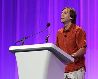 Erik Weihenmayer - Erik Weihenmayer presenting on stage.