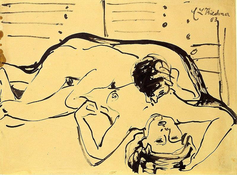 Sexe à Berlin - Dessin d'Ernst Ludwig Kirchner (1909)