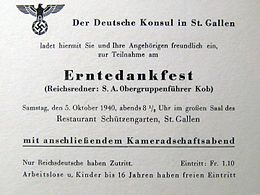 Thanksgiving 1940 evening invite by German consul in St. Gallen