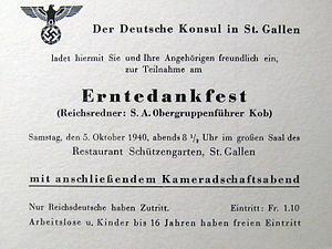 """German immigration to Switzerland - Invite to Thanksgiving evening by German consul in St. Gallen (1940), """"for Reichsdeutsche only...Reichsredner: S.A. Gruppenführer Kolb"""""""