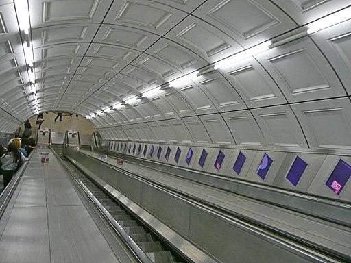 Escalators at Liverpool Street tube station, London looking down 1090965