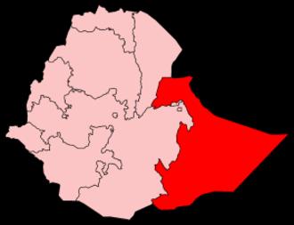 Ogaden - Map of Ethiopia highlighting the Somali Region.