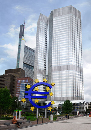 English: The European Central Bank. Notice a s...
