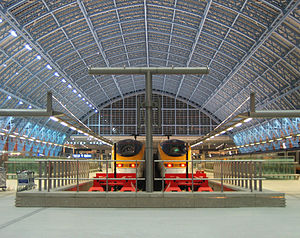 Eurostar trains in the renovated St Pancras St...