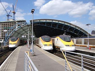 Waterloo International railway station - Four Eurostar Class 373s at Waterloo International in June 2006
