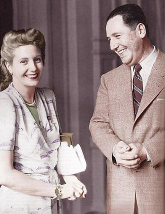 Decree Law 4161/56 - Juan Perón and Evita Perón, as depicted on a 1950s photograph. Decree Law 4161/56 prohibited their names from being mentioned.