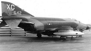 12th Flying Training Wing - McDonnell F-4C-19-MC Phantom II AF Serial No. 63-7542 of the 557th Tactical Fighter Squadron, (Photo taken at Cam Rahn AB). This aircraft survived the war and eventually was sent to AMARC for scrapping 12 July 1988