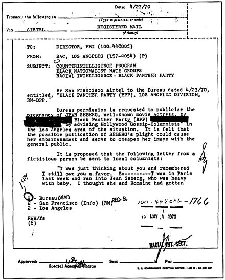 "FBI inter-office memo: ""... cause her embarrassment and cheapen her image"" FBI vs. Jean Seberg1.jpg"