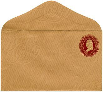 Watermark - A US postal stationery envelope from 1883 showing a clear watermark on laid paper.
