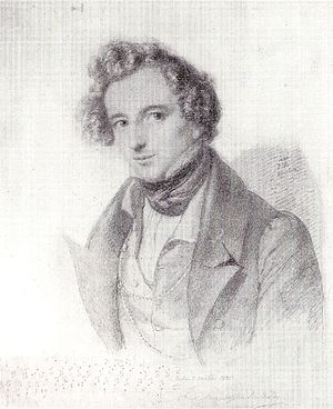 Piano Concerto No. 1 (Mendelssohn) - Drawing of the composer by Eduard Bendemann, 1833