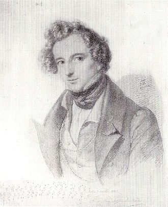 Symphony No. 5 (Mendelssohn) - Drawing of the composer by Eduard Bendemann, 1833